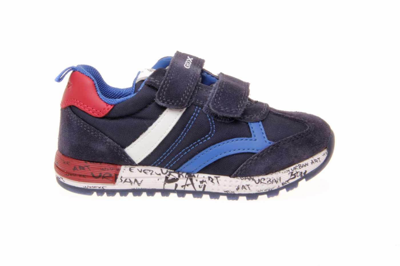 Zapatillas deportivas de bebe niño Geox azul con doble